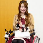 車椅子利用者でモデルの日置有紀さん=芦屋市民センターで、石川勝義撮影