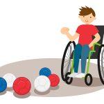 ボッチャを楽しむ男性のイメージイラスト。情報にもバリアフリーを。障がい者とその関係者のコミュニティ、情報サイト。ナレバリ