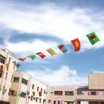 屋外でのイベントが開催され、賑やかな雰囲気を演出するために、様々な、いろいろな旗が飾られている晴れた日の様子。情報にもバリアフリーを。障がい者とその関係者のコミュニティ、情報サイト。ナレバリ